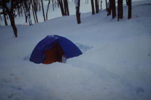 朱鞠内湖畔でキャンプ 2月