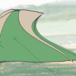 突風でテントが壊れた!